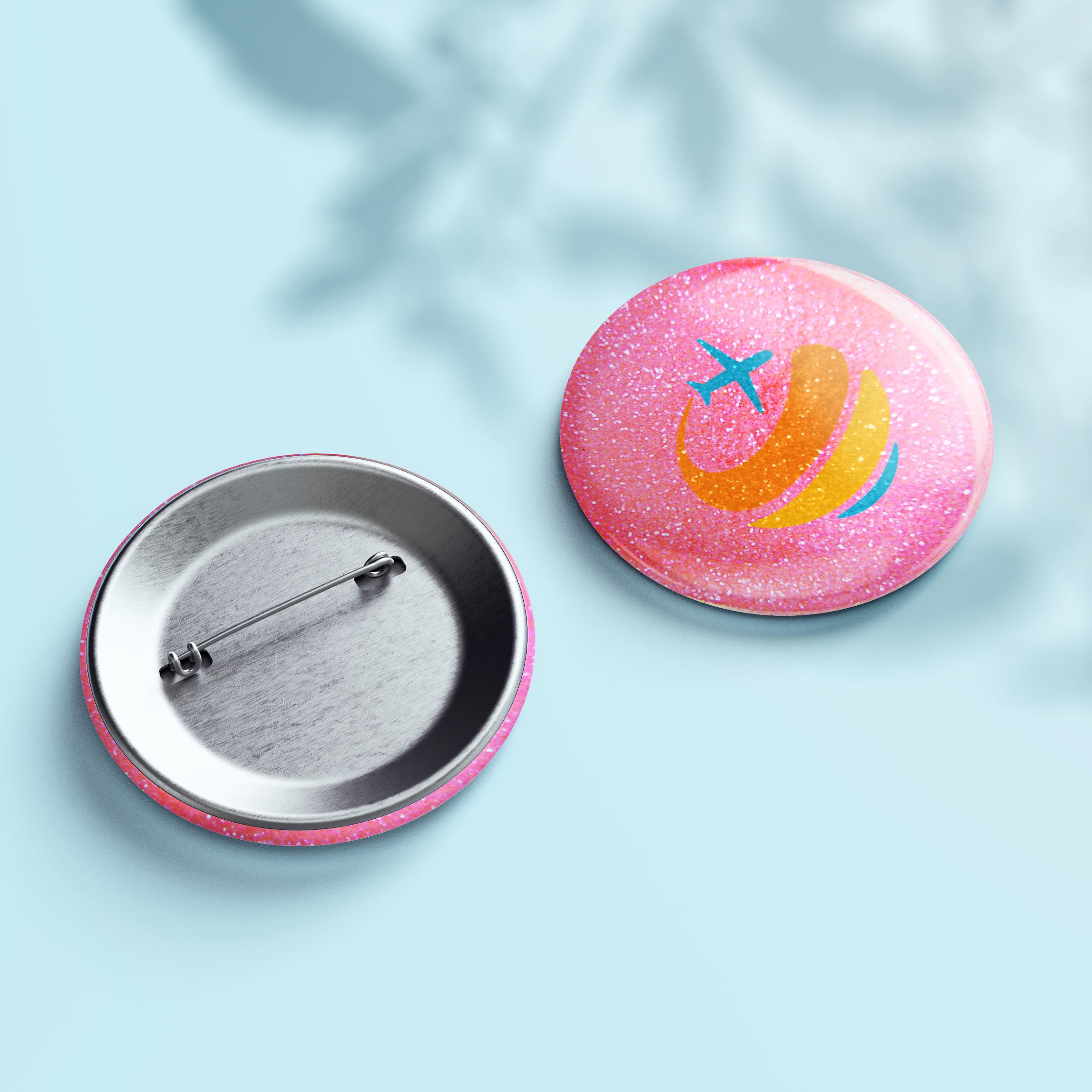 Glitzer Button - Design Pink