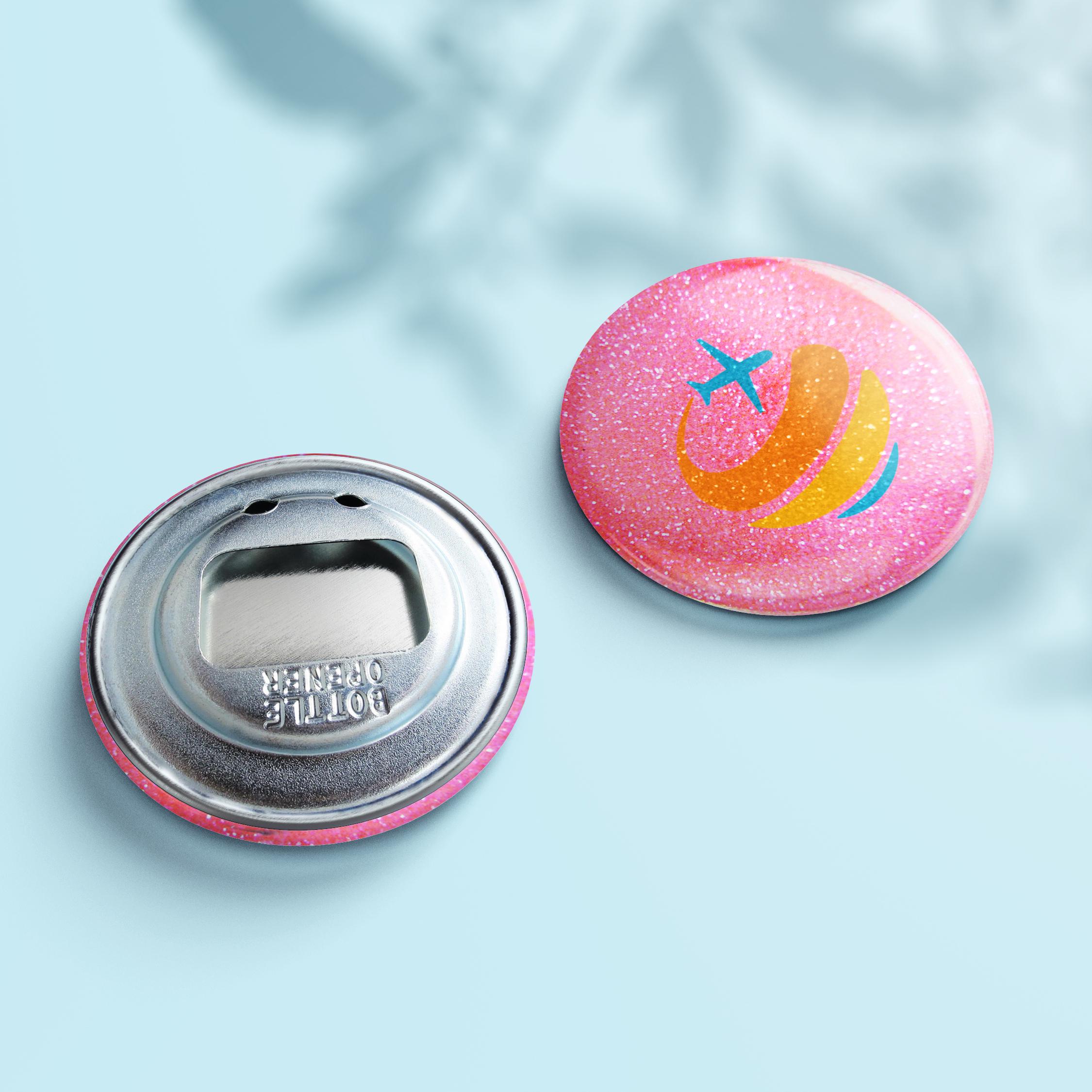 Flaschenöffner Glitzer Button - Design Pink