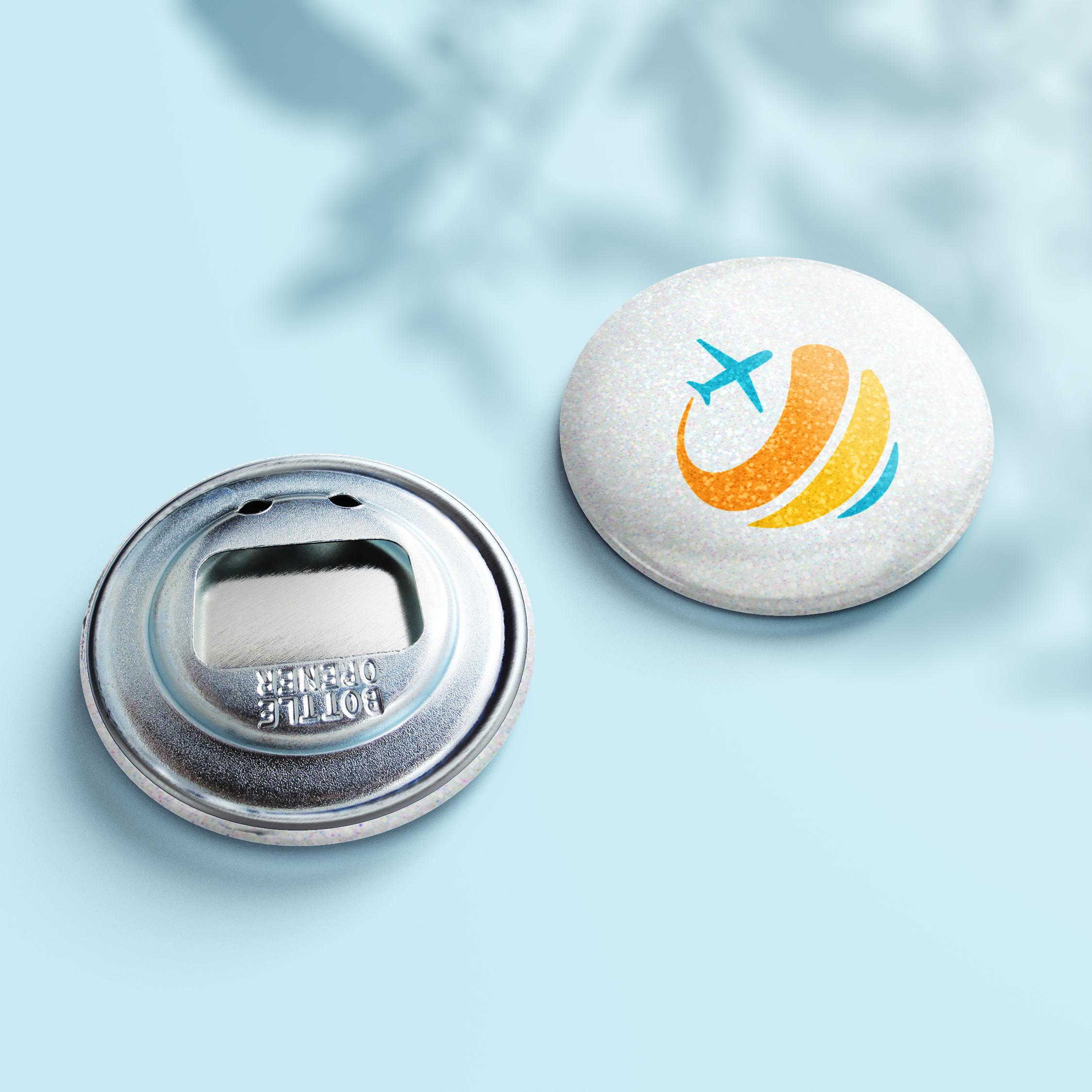 Flaschenöffner Glitzer Button - Design White