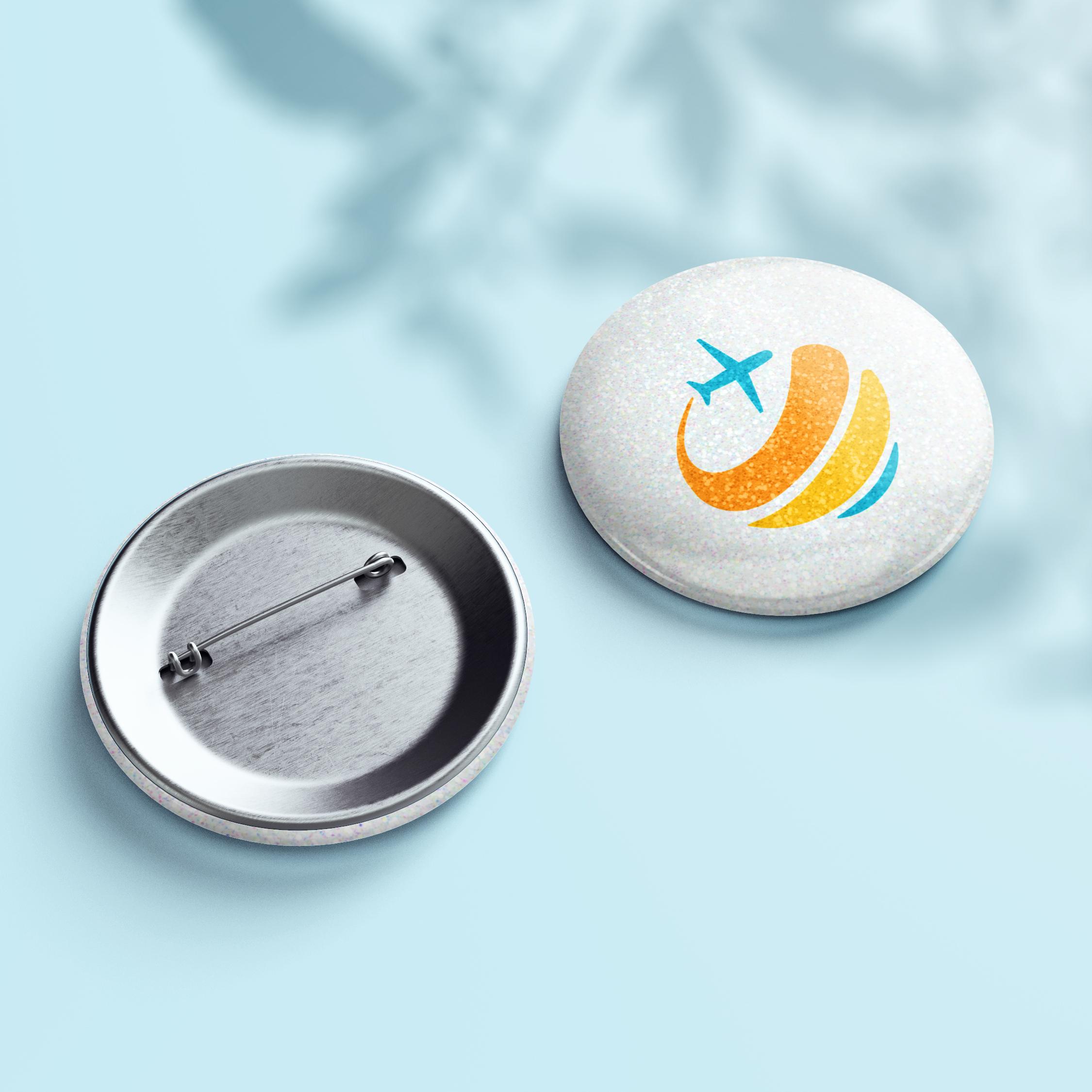 Glitzer Button - Design White