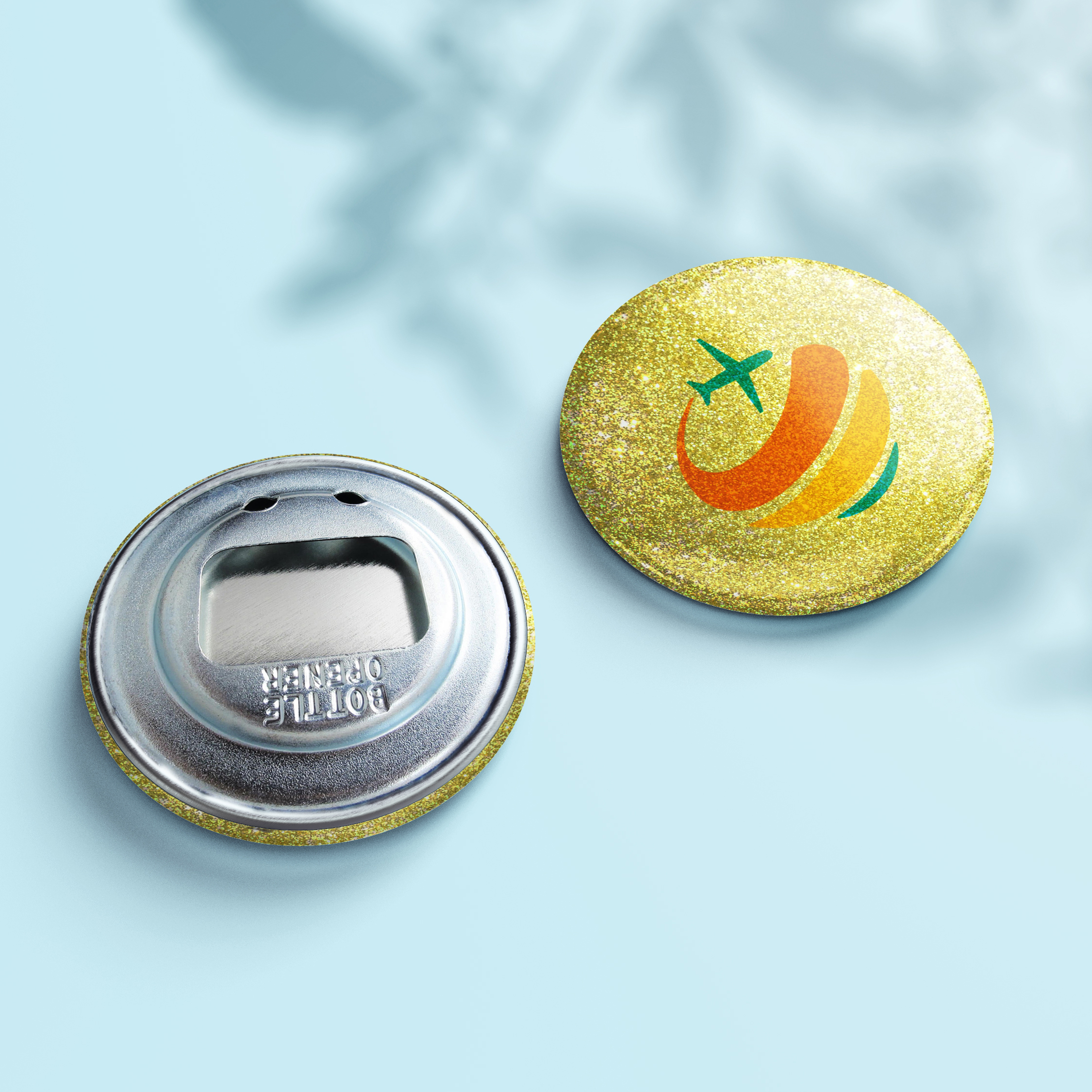 Flaschenöffner Glitzer Button - Design Gold